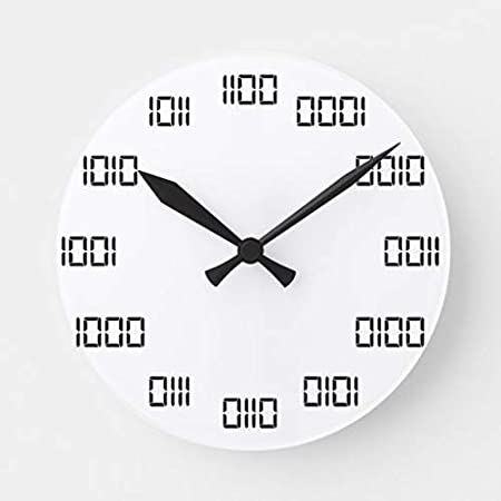 daoyiqi Wood Wall Clock Round Wall Clock Binary Time Round Clock Wall Decor