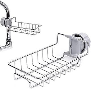 Rubik Kitchen Sponge Holder for Kitchen Sink, Stainless Steel Sink Organizer Faucet Drain Sponge Holder (Single Layer)