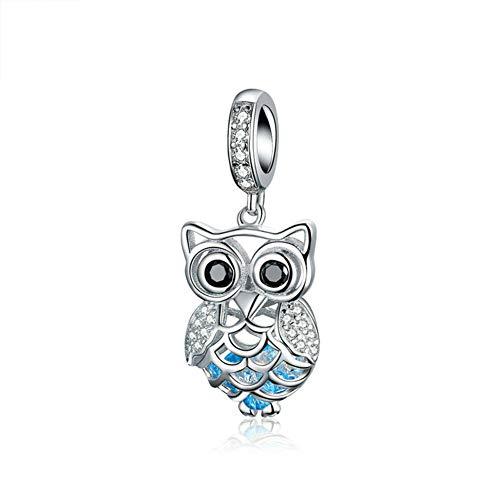 Abalorio de búho de plata de ley 925 con diseño de pájaro para pulsera Pandora (búho)