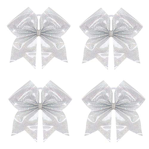 "Oaoleer 4PCS 7"" Large Glitter Cheer Hair Bows Ponytail Holder Elastic Band Handmade for Cheerleading Teen Girls College Sports (4pcs PVC B)"