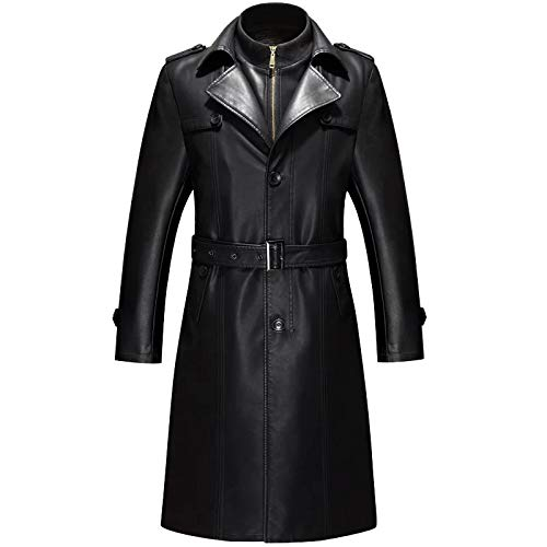 XXL, Negro OverDose Hombres de invierno Slim elegante Trench Coat Double Breasted Chaqueta larga Parka