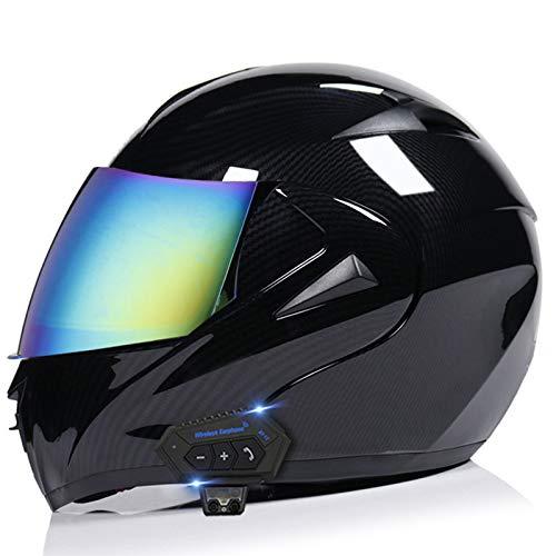 DCLINA Bluetooth Integrado Casco de Moto, Modular de Cara Completa Abatible Motocross Off-Road Motocicleta Racing Casco con Doble Visera para Hombres y Mujeres Adultos, Certificación ECE
