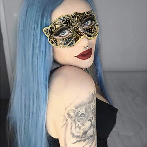 Blaue Lace Front Perücken, GLAMADOR Halloween Perücke, Lange Synthetische Perücke für Frauen, Lange gerade Haare Perücke, Blau Cosplay Perücken, Party Perücken Damen mit Kappe 22 ''