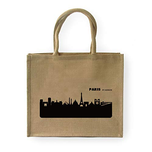 44spaces Großer Shopper Paris Jute, Aufdruck schwarz - Größe: 42 x 33 x 19 cm, Geschenk-Tasche Strandtasche Shopping Tragetasche