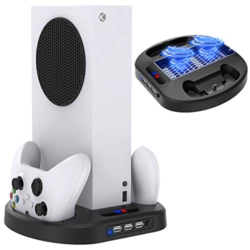 Vertical Charging Stand for Xbox Series S Controllers with Cooling Fan, MENEEA Charger Dock Station with LED Indicator and 3 USB Hubs