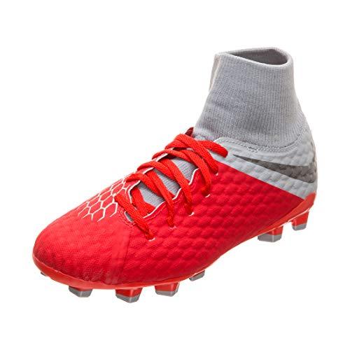Nike Jr Hypervenom 3 Academy DF Fg, Scarpe da Calcetto Indoor Unisex-Adulto, Multicolore (Lt Crimson/Mtlc Dark Wolf Grey 600), 38.5 EU