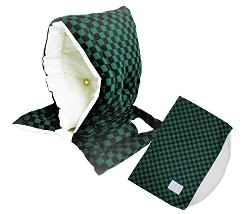 防災ずきん専用カバー付 日本製(小学生から大人まで)市松模様 グリーン Lサイズ 防災クッション(約30×46cm)