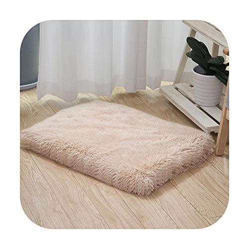 Ultra Plush Deluxe - Cama ortopédica de espuma para perro rectangular para gatos y perros, funda extraíble, cojín para colchón para perros pequeños y grandes, color beige, marrón, M-50 x 40 x 5 cm