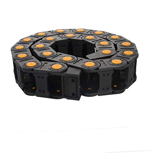 Fielect Drag Chain Cable Carrier Open Type with End Connectors R55 25X38mm 1 Meter Plastic for Electrical CNC Router Machines Black with Yellow Dots 1Pcs