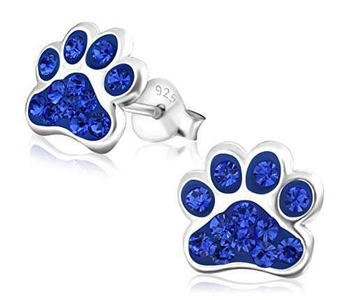 Laimons Kids Orecchini a pressione gioielli per bambini Zampa di cane blu Savoia Con brillantini Argento Sterling 925