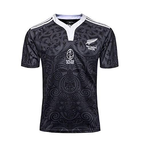 HANJIAJKL Rugby Trikot,Neuseeland Fußball Sportswear Kurzarm Sport Top T-Shirt S-XXXL,A,L