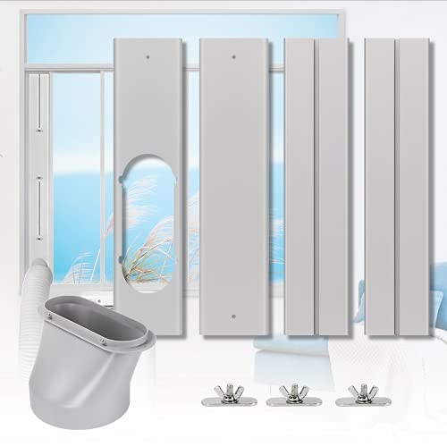 """Portable Air conditioner Window Kit with Coupler, Adjustable Vertical / Horizontal Sliding Window Kit Plate for AC Unit, AC Window Vent Kit, AC Window Seal Suitable for 5.9""""/15 CM AC Exhaust Hose"""