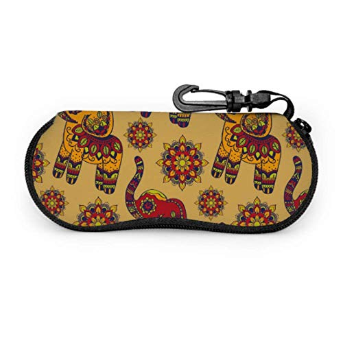 JEOLVP Vintage Graphic Vector Indian Lotus Ethnic Elephan Sunglass Case Mujeres Soft Sunglass Case para hombres Light Portable Neoprene Zipper Soft Case Niños Gafas de sol Case