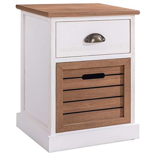 CARO-Möbel Nachtkommode CULTURA im eleganten Vintage Look Nachtschrank Nachttisch mit 1 Schublade, 1 Korb weiß/braun lackiert