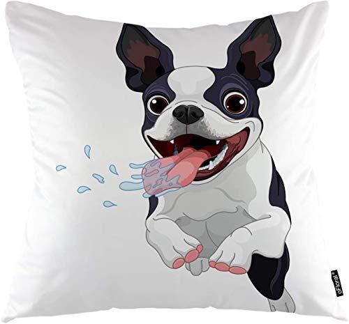 Fundas de Almohada para Perro de Dibujos Animados Boston Terrier Animal Happy Puppy Funda de Almohada Cuadrada Decorativa, 18 'X18 Funda de Almohada Decoración del hogar para sofá Dormitorio Sala de