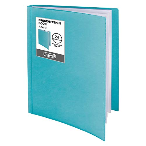"""Dunwell Binder with Plastic Sleeves - (Aqua, 1 Pack), 24-Pocket Bound Presentation Book with Clear Sleeves, Sheet Protector Binder Displays 48 Pages of 8.5x11"""" Certificates, Portfolio, Sheet Music"""