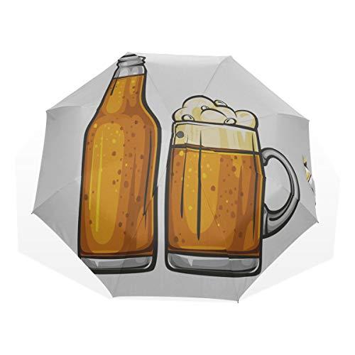 Tragbarer Sonnenschirm Bier Drink Party Celebration Supply 3-Fach Kunst Regenschirme (außerhalb Druck Travelling Sonnenschirm Kids Travel Umbrella Girl Folding Windproof Umbrella
