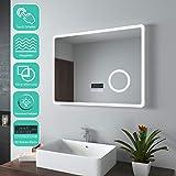 Miroir de salle de bain EMKE avec éclairage 80x60cm miroir de salle de bain miroir de lumière blanche froide avec interrupteur tactile, sans buée, miroir de maquillage à grossissement 3x Bluetooth