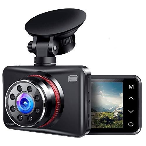 Ainhyzic Dash Cam 1080P Full HD Dash Cámara para coches con botón táctil pantalla grabadora de conducción con ángulo amplio de 170° y visión nocturna infrarroja, detección de movimiento, sensor G, grabación en bucle, monitor de estacionamiento