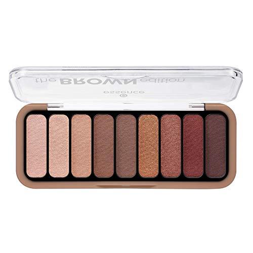 essence the BROWN edition eyeshadow palette, Lidschatten, Nr. 30 Gorgeous Browns, mehrfarbig, 9 Farben, farbintensiv, matt, metallisch, schimmernd, ohne Parfüm, ölfrei, 3er Pack (3 x 10g)