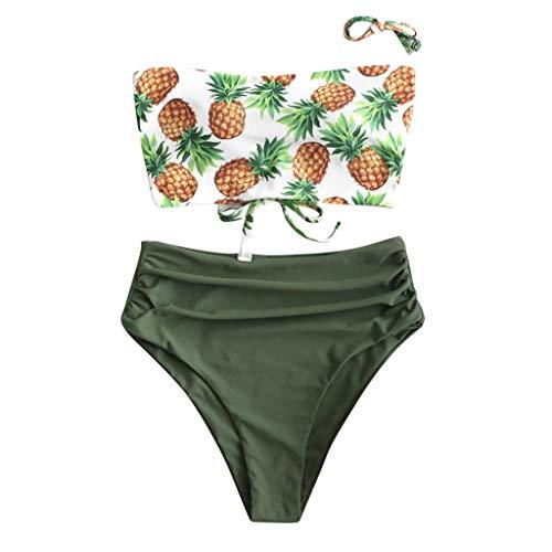 duquanxinquan Sexy Bikini Set Ananas Print Hohe Taille Bikinioberteil Bandeau Off-Shoulder Badeanzug für Frauen