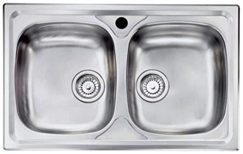 Lavello da Incasso in Acciaio Inox Due Vasche con Sifone 50x86