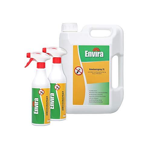 Envira Ameisen-Spray - Anti-Ameisen-Mittel Mit Langzeitwirkung - Geruchlos & Auf Wasserbasis - 2Ltr+2x500ml