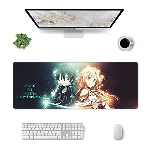 Sword Art Online Mouse Pad Kirito and Asuna Gaming Mouse Pad 31.5x11.8inch