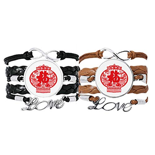 DIYthinker Le Fisch – rote Laterne, chinesisches Schnittmuster, Armband Liebe, Paare, Leder Seil