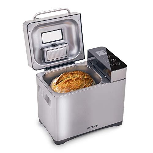 CREATE Panificadora DEPAN 710-IK - Panificadora Automática, 750W, LCD, 17 Programas Automáticos para Bizcochos, Masas, Mermeladas,Yogur, Digital, Incluyen Accesorios, Capacidad de 900 Gramos (Gris)