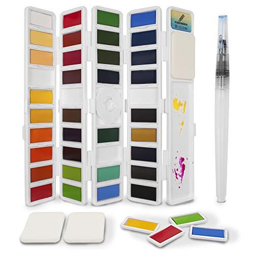 Set de pinturas de acuarela de 38 medias bandejas de color: perfecto para artistas o aficionados: caja de acuarelas plegable con 1 pincele agua y 3 esponjas - PENCILMARCH