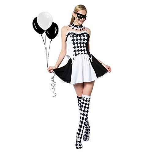 EraSpooky Mujer Disfraz de Payaso Disfraces Cosplay Fiesta de Halloween Traje Divertido para Adultos