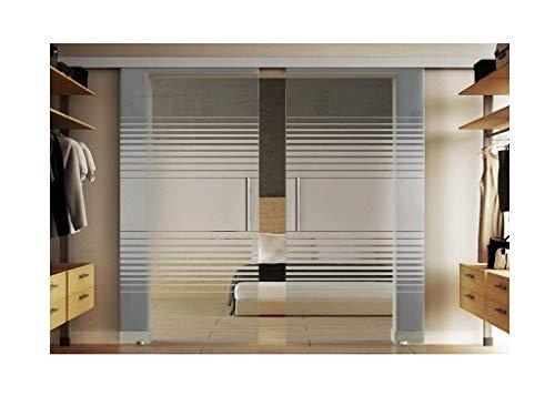 Doppel-Glasschiebetür Komplettset inkl. SoftClose/SoftStop in Lamellen-Design (L), Abmessungen 2 x 775 x 2175 mm = 1550 x 2175 mm in 8 mm ESG-Glas (Einscheibensicherheitsglas) - Levidor