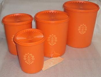 Vintage Tupperware Servalier Canister Set of 4 Retro Orange