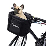 Sportneer Bike Basket, Quick Release Front Handlebar Basket Folding Detachable Bicycle Basket Small Pet Cat Dog Carrier Multi Purpose Easy Install Cruiser Bike Basket for Picnic Shopping Camping