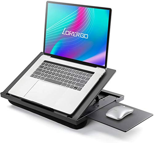 """LORYERGO Lap Desk - Adjustable Laptop Stand, Laptop Lap Desk w/ Mouse Pad, Laptop Stand w/ Cushion, Portable Laptop Desk Fits Up to 15.6"""" Laptops, Lap Desk for Writing & Drawing, for Sofa & Bed"""