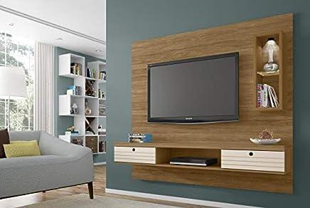 Painel para TV até 65 Polegadas com LED 2 Gavetas 1 Nicho Diamante II Decor Retrô Móveis Bechara Cinamomo/Off White