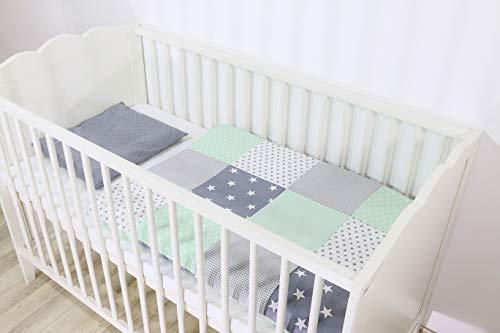 ULLENBOOM ® Babybettwäsche Set Mint Grau - 2 Teile (komplett): Baby Bettwäsche 80x80 cm & Kissenbezug 35x40 cm, Baby Bettset für das Babybett aus 100% Baumwolle