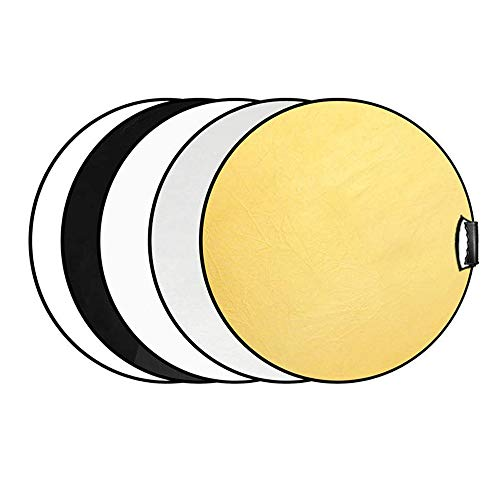 Selens 60CM 5 en 1 Reflector de Luz Redondo Plegable Portátil con Asa Iluminación Difusor Estudio Fotográfico Fotografía Al Aire Libre, Color Negro, Blanco, Oro, Plata, Translúcido