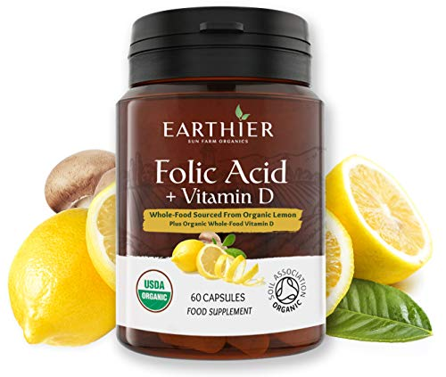 Organic Folic Acid Plus Organic Vitamin D from Whole Foods - Certified Organic by Soil Association - 2 Month Supply – Vegan