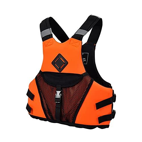 CYzpf Chaleco Salvavidas Adulto Flotación Gran Bolsillo Portátil Ayuda de la Nadada Vest Flotabilidad Equipamiento para Deportes Acuáticos Kayak Canotaje Snorkel,Orange,L/XL