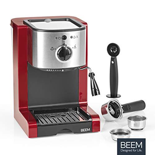 BEEM 02051 Espresso Perfect (Verbesserte Version 2019!) | Espressomaschine für Pulver & Pads (1350 Watt, 15 bar) | Espresso, Cappuccino, Latte Macchiato, XXL-Crema, Kaffee Lungo | Brillantrot