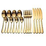 Posate in acciaio inossidabile Cucchiaio da cucina Stoviglie Coltello dorato Set di cucchiai forchetta Set di posate d'oro Set da tavola gold 4 sets