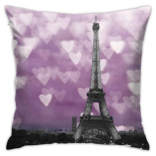 Funda de almohada decorativa con diseño de torre Eiffel con corazones rosados, morados, 45,7 x 45,7 cm