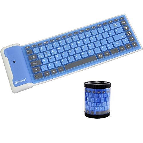 Mini Foldable Silicone Wireless Bluetooth Keyboard, Silent Waterproof Rollup Keyboard, Flexible Portable Computer Keyboard for PC Notebook Laptop(Blue)