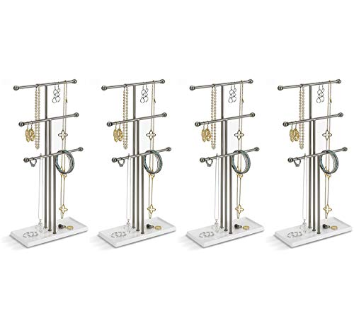 Umbra 299330-491-REM Trigem Hanging Organizer – 3 Tier Table Top Necklace Holder, Box Display with Jewelry Tray Base, One Size, Nickel (Four Pack)
