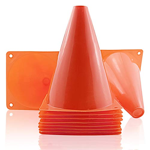 Agreatca 10 pcs Marker Bucket,7 Inch Plastic Traffic Cones,Multipurpose Construction Theme Party Sports Activity Cones,Cones for Kids Outdoor and Indoor Gaming and Festive Events