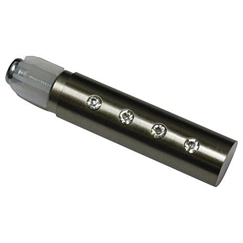 GARDINIA Endknöpfe für Gardinenstangen, 2 x Endstück Linear Kristall, Serie Chicago, Metall, Edelstahl-Optik, Durchmesser 20 mm