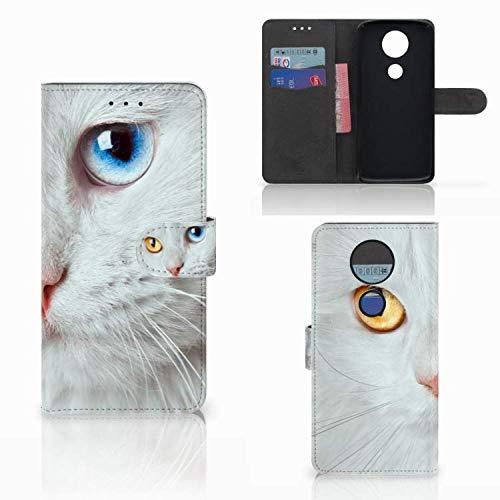 B2Ctelecom Schutzhülle kompatibel für Motorola Moto E5 Plus Lederhülle Weiße Katze - Personalisierung mit Ihrem Wunschnamen oder -tekst