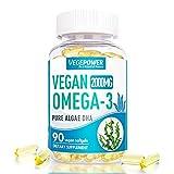 VegePower Vegan Omega 3 DHA Supplement, Fish Oil Fatty Acids Alternative, 2000mg Algae Oil - 90 Softgels for Brain, Heart, Eyes Health, Immune System Support, Plant-based, Non-GMO, Prenatal Supplement